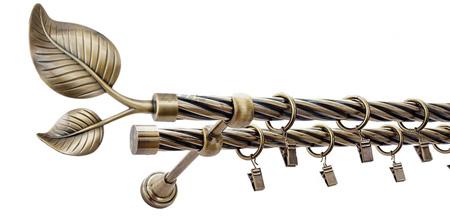 Karnisz DUŻY LIŚĆ Złoty Antyk,  podwójny Ø19+Ø19 z rurą skrętną.