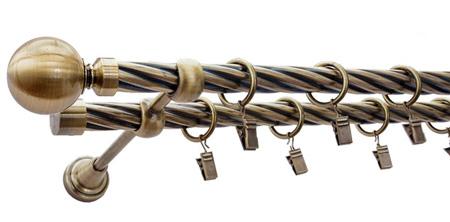 Karnisz GLOB Złoty Antyk,  podwójny Ø19+Ø19 z rurą skrętną.