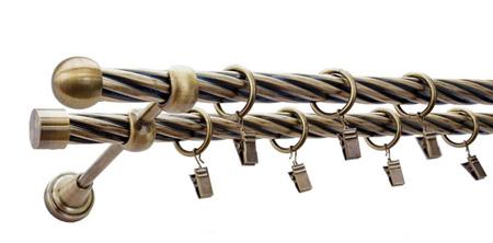 Karnisz KULA Złoty Antyk,  podwójny Ø19+Ø19 z rurą skrętną.