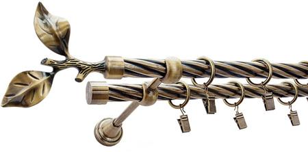 Karnisz LIŚĆ RÓŻY Złoty Antyk,  podwójny Ø19+Ø19 z rurą skrętną.