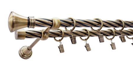 Karnisz LUXOR Złoty Antyk,  podwójny Ø19+Ø19 z rurą skrętną.
