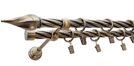Karnisz TWISTER Złoty Antyk,  podwójny Ø19+Ø19 z rurą skrętną.