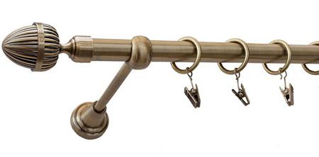 Karnisz ODEON Złoty Antyk,  pojedynczy Ø19 z rurą gładką.