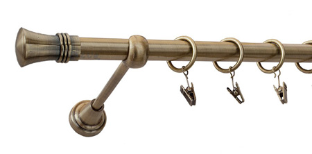Karnisz PRINCE Złoty Antyk,  pojedynczy Ø19 z rurą gładką.