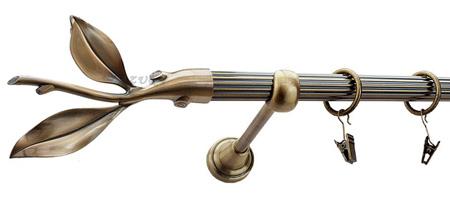 Karnisz LISTEK Złoty Antyk,  pojedynczy Ø19 z rurą ryflowaną.