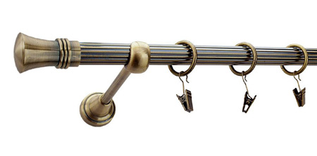 Karnisz PRINCE Złoty Antyk,  pojedynczy Ø19 z rurą ryflowaną.