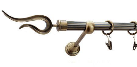 Karnisz VIOLO Złoty Antyk,  pojedynczy Ø19 z rurą ryflowaną.