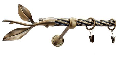Karnisz LISTEK Złoty Antyk,  pojedynczy Ø19 z rurą skrętną.