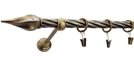 Karnisz TWISTER Złoty Antyk,  pojedynczy Ø19 z rurą skrętną.